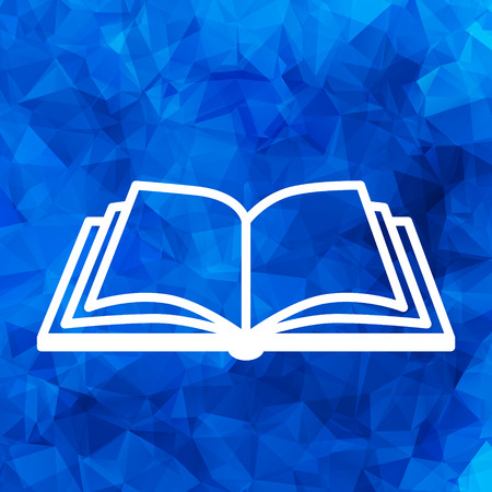 white open book vector icon on a blue triangular polygonal background