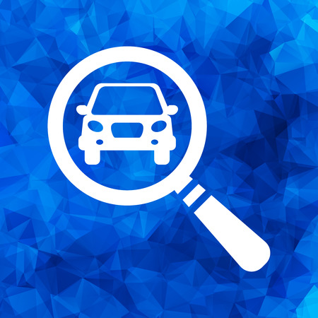 magnifying glass with a car on a blue triangular polygonal background. Car selling icon. Search car, car deal Illustration