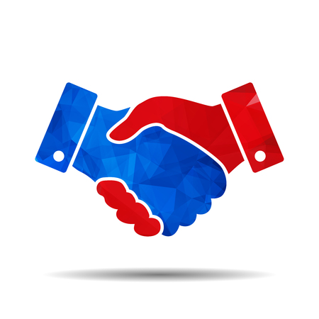 blue and red triangular polygonal handshake vector icon. design for business and finance concept