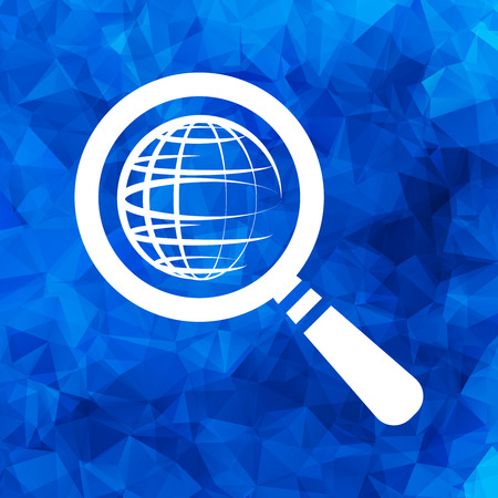 search icon of flat globe planet, vector magnifying glass on a blue triangular polygonal background Illustration