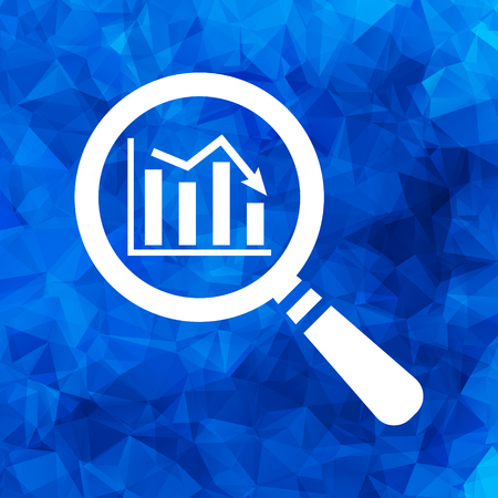 stock predictions: flat search icon of graph going down on a blue Triangular Polygonal background