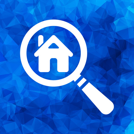 Search house icon on a blue triangular polygonal background. Magnifying glass. Search icon, vector illustration.
