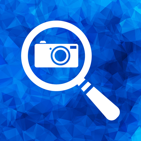 flat search icon with photo camera on a blue triangular polygonal background - vector illustration Illustration