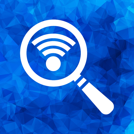 Search wi-fi connection icon, wifi searching pictogram on a blue triangular polygonal background