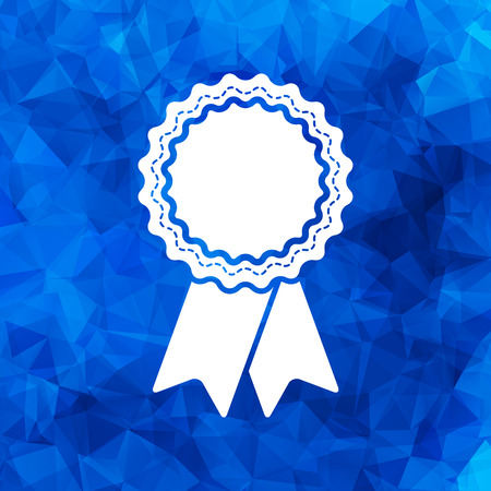 badge with ribbons icon on a blue polygonal background