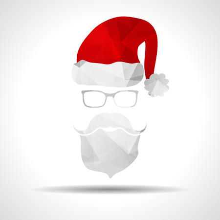 claus: Flat Polygonal Design Vector Santa Claus Face