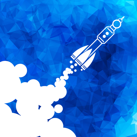 Linear rocket icon with clouds - vector illustration