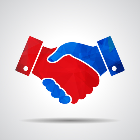 cooperate: red and blue triangular polygonal handshake icon. design for business and finance concept