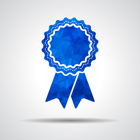 qualify: blue polygonal badge with ribbons icon on a gray background Illustration