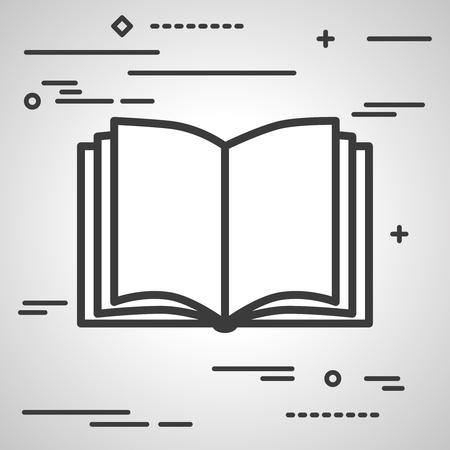 Flat Line ontwerp grafisch beeld concept van open boek icoon op een grijze achtergrond