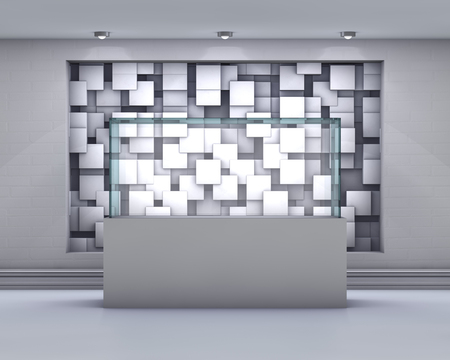 expansive: 3d Empty glass showcase with spotlights and chaotic abstract cub