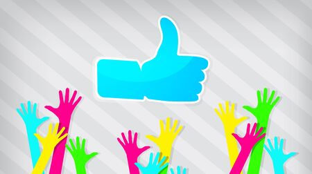 Happy hands with thumbs up symbol on a striped background