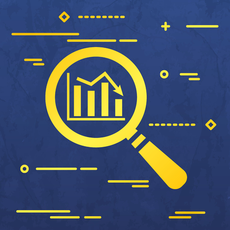 Flat Line design graphic image concept of search icon of graph going down in magnifying glass on a blue  paper layer background Illustration