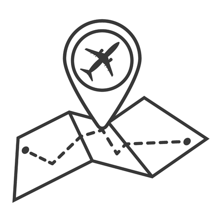 Map with  airplane icon in trendy flat style isolated on white background. Symbol for your web site design, logo, app, UI. Vector illustration, EPS