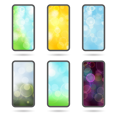 Set of different screens for mobile phones.