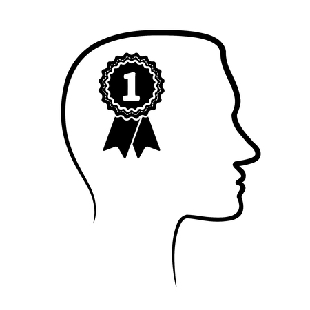 outline design icon with human head, brain and first place award Illustration