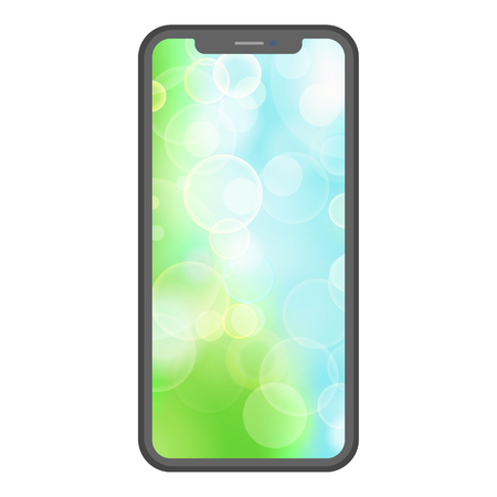 Mobile cellular phone with green screen flat illustration