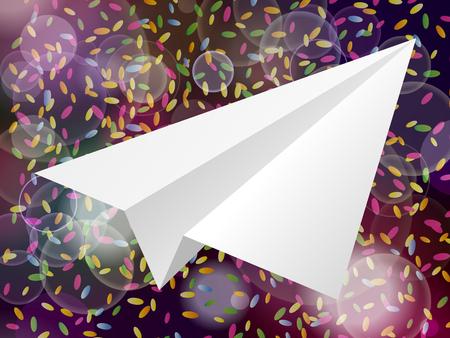 スタイル g ピンク紫色の背景にホワイト ペーパー飛行機アイコン