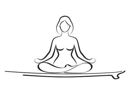 Woman relaxing in yoga pose on baddle board on water. Stand up p