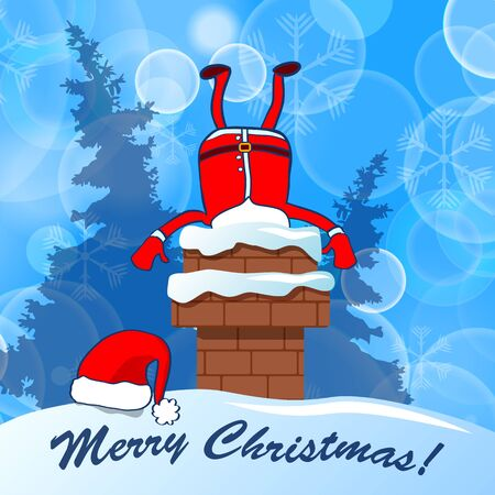 Merry Christmas! Santa Claus stuck in chimney on a blue snow winter background Vettoriali