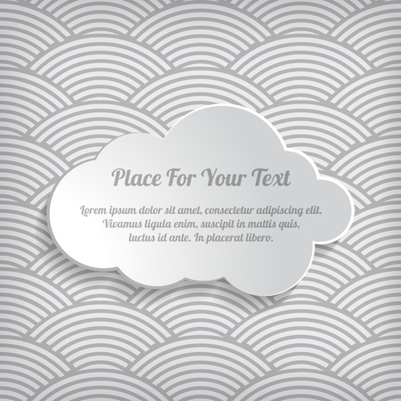 Illustration of grey cloud on the seamless waves abstract pattern