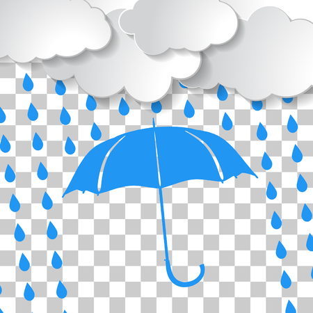 Clouds with blue umbrella and rain drops on squared background