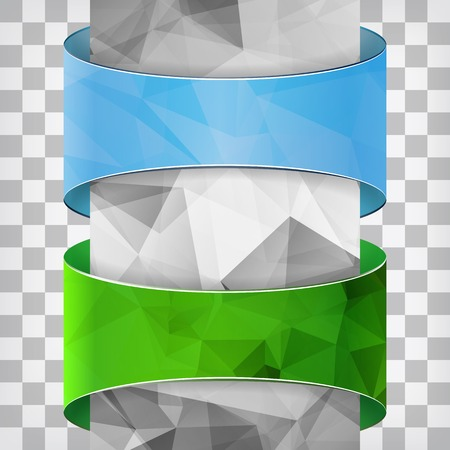 Blue and green labels with triangle column on the squared background Illustration