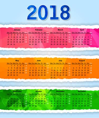 Abstraktes buntes dreieckiges zerrissenes Papier 2018-jähriger Kalender