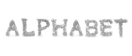 Collection of a large group of letters forming the text ALPHABET in upper case isolated on a white background.