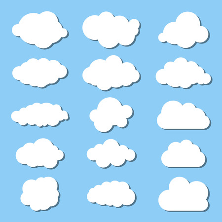 white clouds collection on a blue background