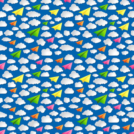 blue seamless illustration pattern of paper airplanes with clouds