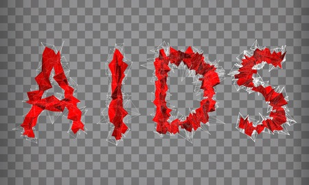 abstract vector red modern triangular emblem of text AIDS on a chequered background