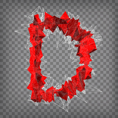 abstract vector red modern triangular emblem of D on a chequered background  イラスト・ベクター素材