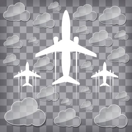 silhouettes of airplanes in the air with transparency clouds on a chequered background