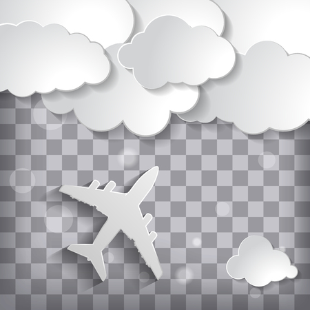 paper airplane with paper clouds on a chequered background