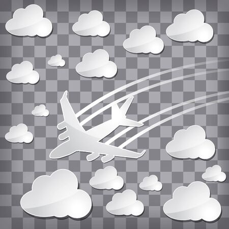 paper airplane in the air with white clouds on a chequered background