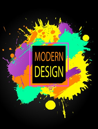Modern colorful frame design with splashes on a black background.