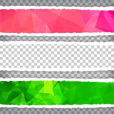 Collection of Abstract Colorful Polygonal torn paper. Vector illustration Illustration