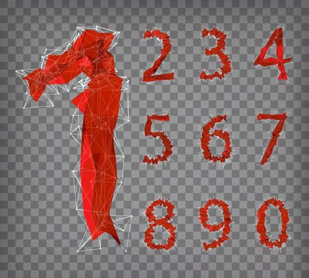 abstract red modern triangular collection of numbers on bchequered background