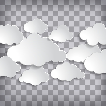 Vector illustration of clouds set on a chequered background Imagens - 96449895