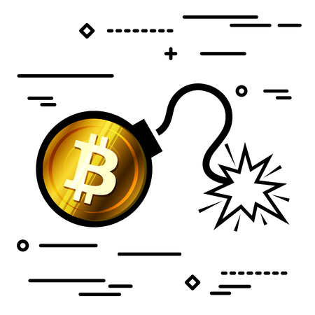 Flat Line design graphic image concept of bitcoin bomb icon on a white background Ilustracja