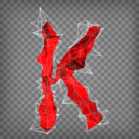 abstract vector red modern triangular emblem of type K on a chequered background