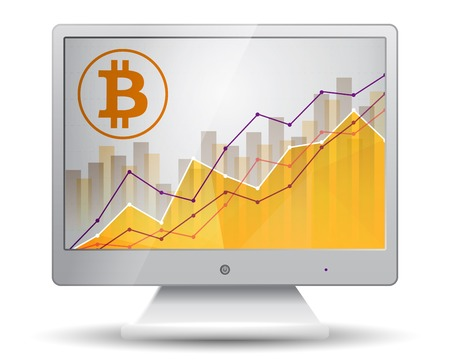 bitcoin statistics chart showing different growing graphs on the display of monitor Vectores