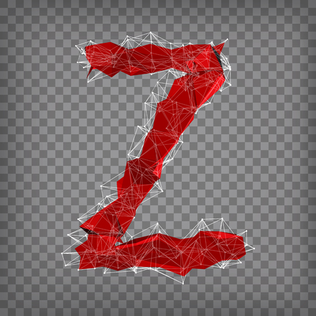abstract vector red modern triangular emblem of type Z on a chequered background