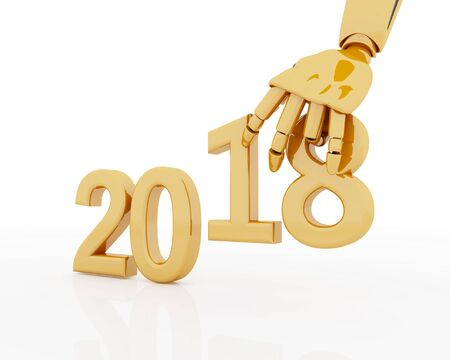 3D rendering of robotic hand making number 2018. New year artificial concept