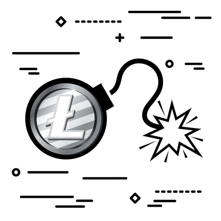Flat Line design graphic image concept of litecoin bomb icon on a white background Illustration