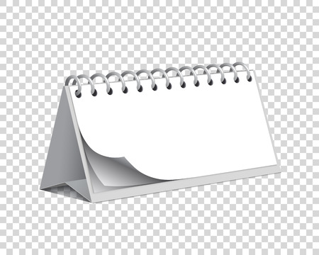 Blank vector desk paper calendar on a chequered background