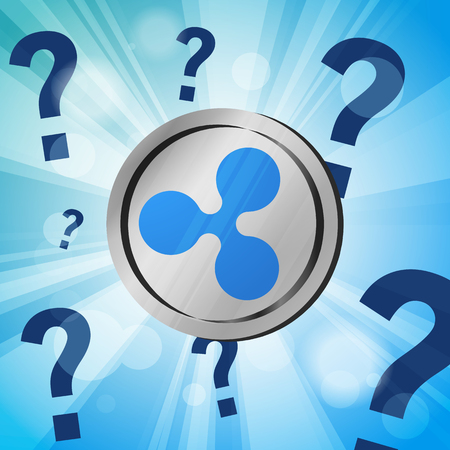 ripple xrp coin cryptocurrency with question marks on the bright blue rays of light effect background