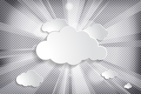 clouds with sun and rays on a chequered background