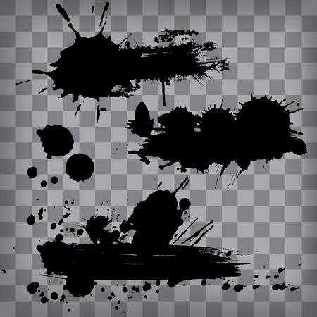 Satz von schwarzen Schmutzrahmen von Tintenpinselstrichen lokalisiert auf Transparenzhintergrund